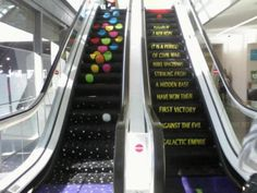 An escalator that has the Star Wars: A New Hope opening text. How cool!