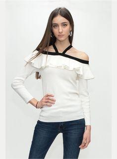 Μπλούζα πλεκτή με βολάν - Μπλούζες - ΡΟΥΧΑ - ΓΥΝΑΙΚΑ acaf824033f