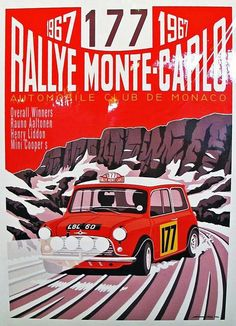 Rallye Monte Carlo Mini Poster - The Pitstop Bookshop Mini Cooper Clasico, Classic Mini, Classic Cars, Austin Mini, Up Auto, Course Automobile, Monte Carlo Rally, Auto Retro, Car Illustration