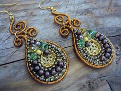Teardrop and Spiral Rich and colorful dangle  by lottaart on Etsy, $26.00