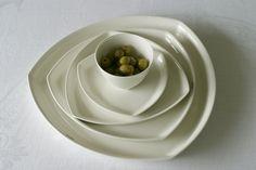 Tri plates by Amfora Panna Cotta, Plates, Tableware, Ethnic Recipes, Fashion Design, Food, Style, Licence Plates, Swag