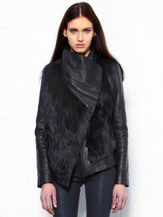Helmut Lang jacket + black fur jacket + black leather pant