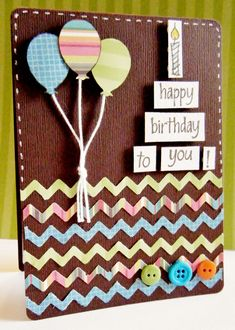 I used this as inspiration for my first Birthday card!  It turned out great.  I did not do the zigzags but instead did clouds.  The stitching really added a nice touch :) Happy Birthday to You! - Scrapbook.com