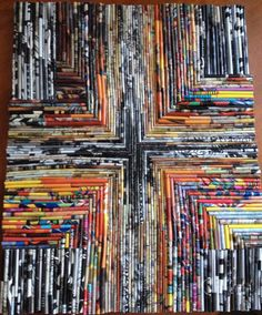 "Crossroads Rolled papers on canvas 16""x20"""