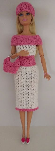 FREE - CROCHET - Crochet for Barbie (the belly button body type): Granny Square Outfit ~ incl. dress, hat and purse. FREE - CROCHET - Crochet for Barbie (the belly button body type): Granny Square Outfit ~ incl. dress, hat and purse. Crochet Barbie Patterns, Crochet Doll Dress, Barbie Clothes Patterns, Crochet Barbie Clothes, Doll Clothes Barbie, Crochet Square Patterns, Barbie Dress, Barbie Doll, Crochet Squares