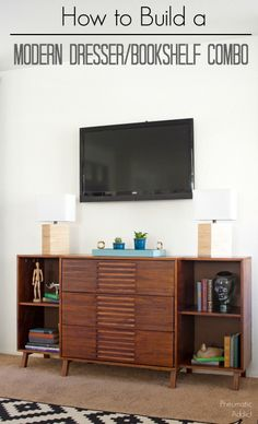 Learn How To Make This Modern Dresser With Attached Bookshelf