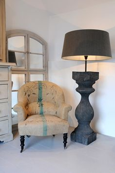 Anton & K - Bespoke  XXL balustrade floor lamp - plus, French antique furniture, art deco interior decoration, painted chests, mirrors and more