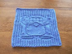 Hand Knit Plucky Penguin Dish Cloth or Wash Cloth In Blueberry Blue | hollyknittercreations - Knitting on ArtFire