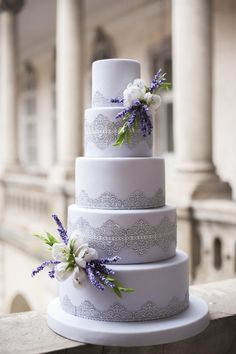 Wedding cake with lace  lavender and tulips by Cofetaria Dana - http://cakesdecor.com/cakes/250113-wedding-cake-with-lace-lavender-and-tulips