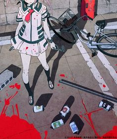 Anime, Anime Girl, Yandere, Blood, Gore, Bike, Short Pink Hair, Pigtails.