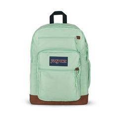 """All the great features of Jansport Big Student, plus a sleeve for a 15 inch"""" laptop and synthetic leather base & trim. Extra large capacity. Water bottle pocket. Premium details and fabrics Jansport Backpack, Laptop Backpack, Handbags For School, S Curves, Cool Backpacks, Evening Bags, Laptop Sleeves, Vegan Leather, Vogue"""