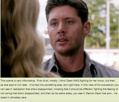 [GIF] But what we also learn from this is Dean is still in there, struggling ever so slightly to come out. Supernatural Season 10, Supernatural Pictures, Supernatural Quotes, Supernatural Fandom, Jensen Ackles, Daneel Ackles, Demon Dean, Winchester Boys, Thats The Way