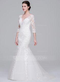 Trumpet/Mermaid V-neck Sweep Train Tulle Lace Wedding Dress (002071570) - JJsHouse