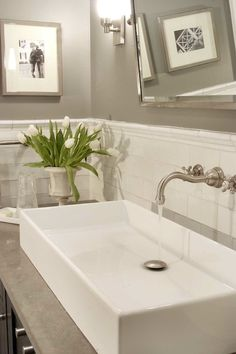 Papyrus Home Design: Chic bathroom with warm gray paint color, white crackled subway tiles backsplash, ...