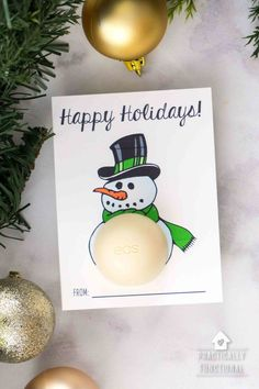 These free printable eos lip balm Christmas gifts are such a cute and easy gift idea! Whip up this simple five-minute Christmas gift for the perfect neighbor gift or easy gift for your kid
