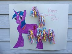 """My little pony game. Perfect for birthday parties. Kids love it. DYI with Dollar store items. Ribbons can be DYI or purchase in dollar store. One pack brings three """"ribbon tails"""". #Pony tail."""