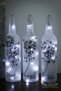 I have had this project in mind for several months. I finally bit the bullet and… I have had this project in mind for several months. I finally bit the bullet and did it. Honestly, I could do without the painting, but I l… Glass Bottle Crafts, Wine Bottle Art, Painted Wine Bottles, Lighted Wine Bottles, Diy Bottle, Bottle Lights, Bottles And Jars, Wine Glass, Crafts With Bottles