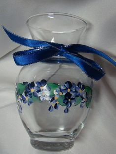 One Stroke Hand Painted Vases | Hand Painted Vase with Blue and White Flowers