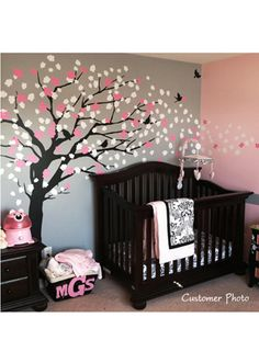 Cherry blossom tree painted in a little girl's room! Cutest baby room ever