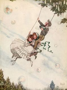 """The swing moves and the bubbles fly upward with bright, ever-changing colours."" Illustration by W. Heath Robinson from The Snow Queen - The Golden Age of Illustration Series. #fairytales #hansandersen #snowqueen #vintageillustration"
