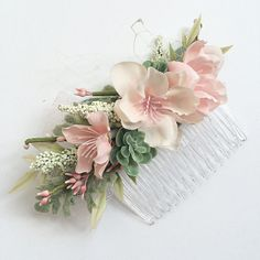 Blush Bridesmaids Comb Blush Wedding Set by OhDinaFlowerCrowns