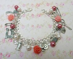Oh Sew Pretty! Charm bracelet with sewing charms hobby seamstress gift by faeriefer on Etsy