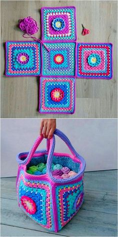 Most recent Totally Free granny square bag Ideas Wonderful Crochet Ideas For Bags And House Items – Diy Rustics Diy Crochet Patterns, Easy Crochet Projects, Crochet Designs, Crochet Crafts, Knitting Patterns, Crochet Ideas, Diy Crafts, Knitting Bags, Knitting And Crocheting