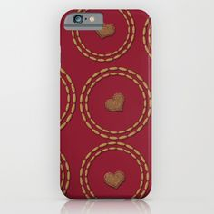 Burgundy & Gold Heart Pattern iPhone & iPod Case, also for all other phone types.