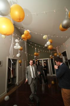 Balloons tied to light strings: if can't get helium