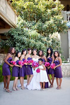 purple bridesmaid dresses | photo by Ivy Weddings. Maybe this, but navy with the pink flowers.