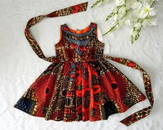 Ankara Dress with Head Wrap African Clothing African Girl Baby African Clothes, African Dresses For Kids, African Children, African Girl, Latest African Fashion Dresses, African Print Fashion, Little Girl Dresses, Girls Dresses, Dress For Girl Child