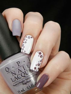 Autumn colours nail art design | polka dot nails