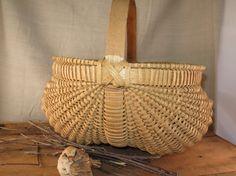 Vintage Buttocks Basket  Gathering Basket  Ash by WrensAttic