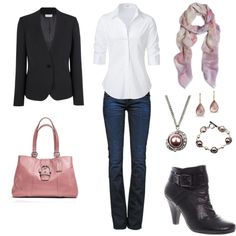 Casual Friday white button down, strait leg jeans, black booties, black jacket, pink scarf & hand bag