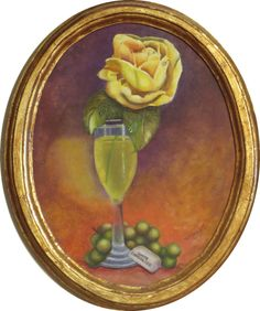 """Original, Floral, Still Life Painting on Framed Hardboard; Rose, Wine, and Grapes Wall Decor. This is a 12"""" x 10"""" oval, acrylic floral painting on hardboard. It is framed by an antiqued gold painted wooden frame. This still life painting depicts a yellow rose, white wine, and green grapes with a rectangle of wrapped white chocolate. The title of the painting is, """"White Dessert"""". The background was painted in mottled colors that complement the subject matter. This delicate piece would make…"""