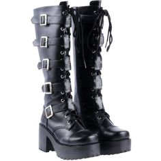 Japanese Harajuku Women Black Leather Buckle Straps Lace Up Gothic... ($42) ❤ liked on Polyvore featuring shoes, boots, wide width boots, tall boots, goth platform boots, tall black boots and laced up boots
