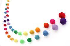 """""""ROYGBIV"""" Handmade Felt Ball Garland by Sheep Farm Felt- Rainbow Pom Pom Garland. 2.5 cm balls."""