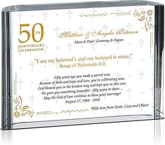 Amazon.com: Crystal Central Personalized Golden 50th Wedding Anniversary Celebration Gift Plaque for Parents, Grandparents, Customized with Anniversary Date, Unique 50th from Son, Daughter, Grandchildren (M-5x6): Home & Kitchen Golden Wedding Anniversary Gifts, Wedding Anniversary Celebration, Anniversary Dates, Happy Anniversary, Party Signs, Grandparents, Grandchildren, Mom And Dad, Vows