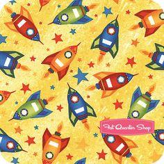 Nursery Fabric: Fatquartershop.com - Rockets & Robots by Blue Sky Studio for Benartex Fabrics - Yellow Rockets SKU# 1568-33 $10.75 Outer Space Nursery, Blue Sky Studios, Nursery Fabric, Fat Quarter Shop, Kit, Rockets, Book Illustration, Quilt Patterns, Fabrics