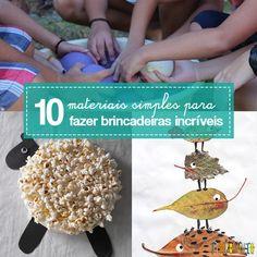 Dicas de materiais simples para fazer brincadeiras com crianças de diferentes idades. Você brinca sem ter que gastar muito dinheiro com brinquedos.