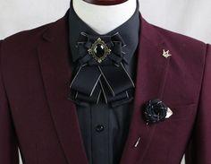 2 Items - Set of Wedding Men Pre Tied Bow Tie & Rose Boutonniere Brooch Pin  #handmade #BowTieAndPin