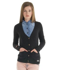 Superdry Harrow Cardigan: Charcoal