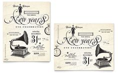 Vintage New Year's Party Poster Template Design | StockLayouts