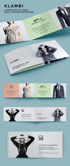 Landscape Bifold Mini Fashion Brochure Klambi  —  InDesign Template • Download ➝…