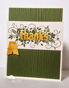 Paper:Mossy Meadow, Very Vanilla Ink:Mossy Meadow, Daffodil Delight Blendabilities Embellishments:Hello Honey Satin Ribbon Tools: Mat Pack, Paper Piercer, Paper Snips, Simply Scored, Simply Scored Diagonal Plate, Stampin' Up Stapler Adhesives: Snail Big Shot:Woodgrain Embossing Folder