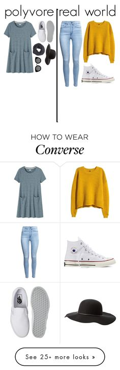 """""""how I dress in polyvore vs. real life"""" by the-fashion-baby on Polyvore featuring Toast, Vans, Frenchi, Charlotte Russe, Quay, H&M and Converse"""