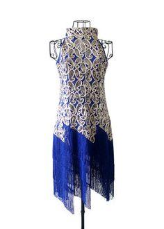 Halter Neck Women's Vintage 1920S Sequin Paisley Pattern Tassel Flapper Party Dress Sexy Glitter Latin Dance Dress Vestidos