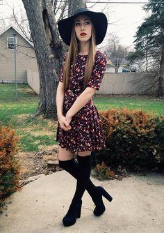H&M Floral Dress, Black Sunhat, Forever 21 Black Thigh High Socks, Forever 21 Black Platform Heels