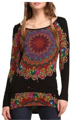 Bohemian Style Floral Print Scoop Neck Long Sleeve T-Shirt #Bohemian #Style #Black #Multicolor #Mandala #T_Shirt #Fashion