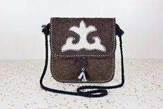 SALE brown boho crossbody bag / tribal satchel / southwestern purse / wool felted purse